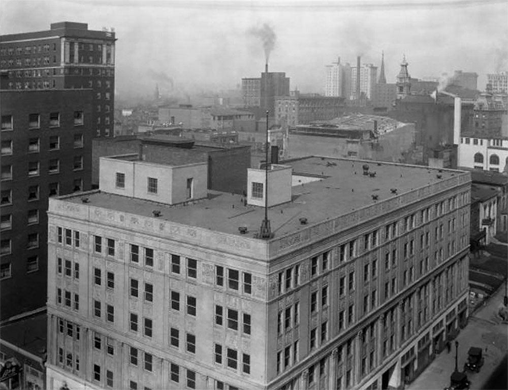 The Breslin Building in 1928 with a very different Louisville skyline in the background. (Courtesy UL Photo Archives - Reference)
