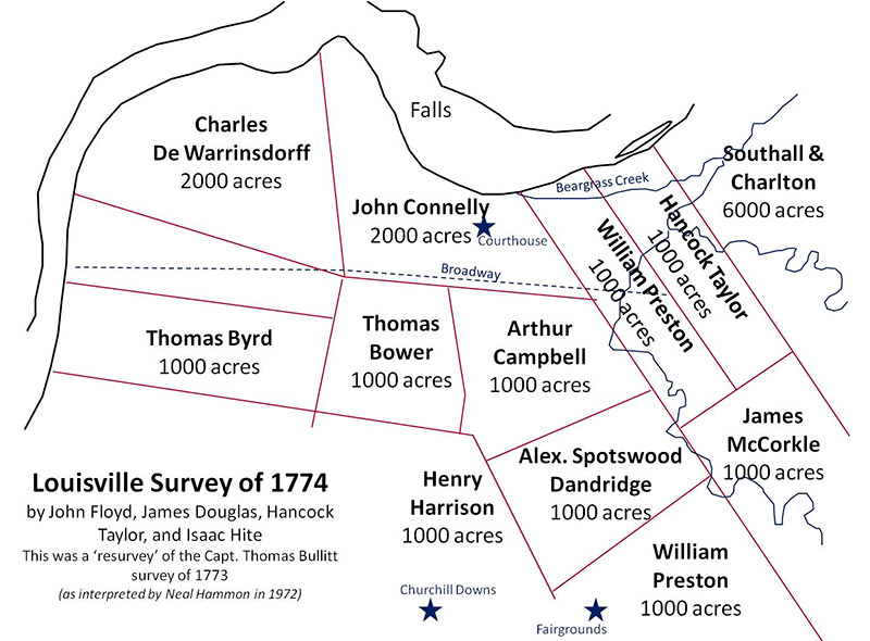 A map showing the original land grants circa 1774 that eventually shaped the city's layout.