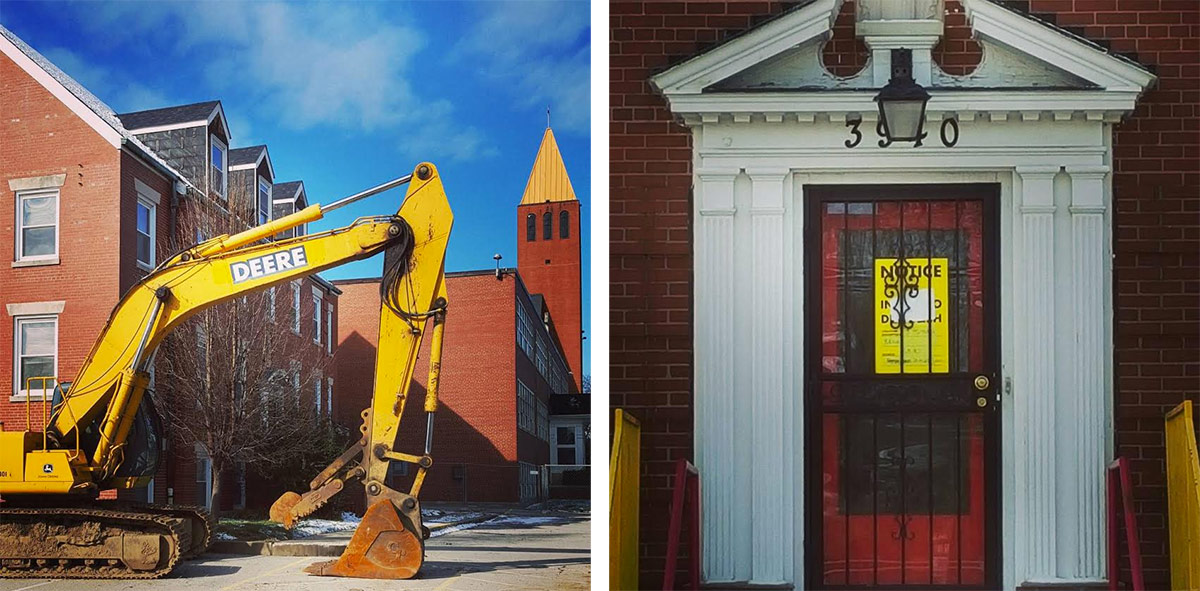 Demolition is imminent at the Holy Family Convent. (Bryan Grumley / Broken Sidewalk)