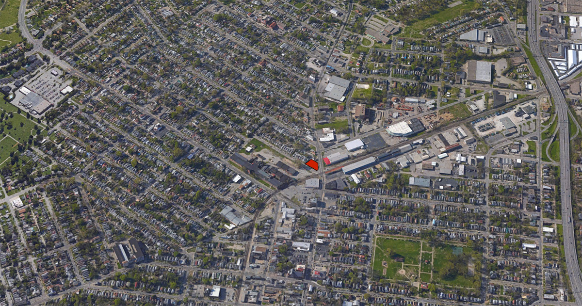 The site, red, in the larger neighborhood context. (Courtesy Google)