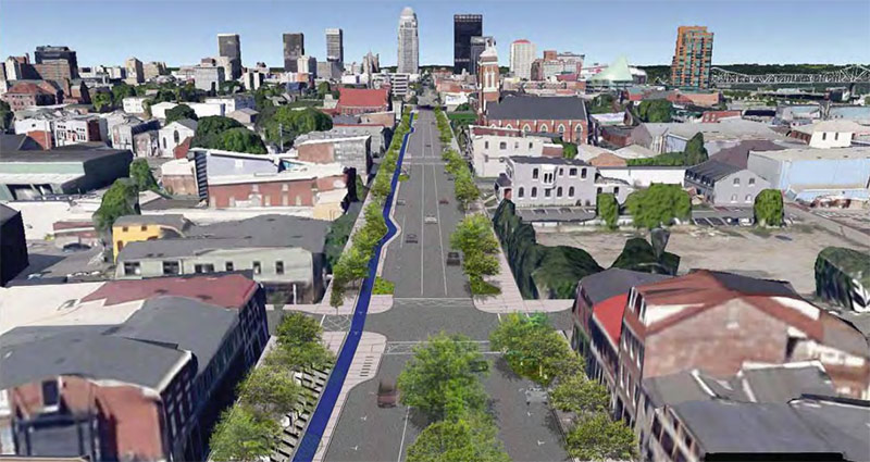 Rendering of the proposed redesign of East Market Street. (Courtesy Carman Landscape Architecture)