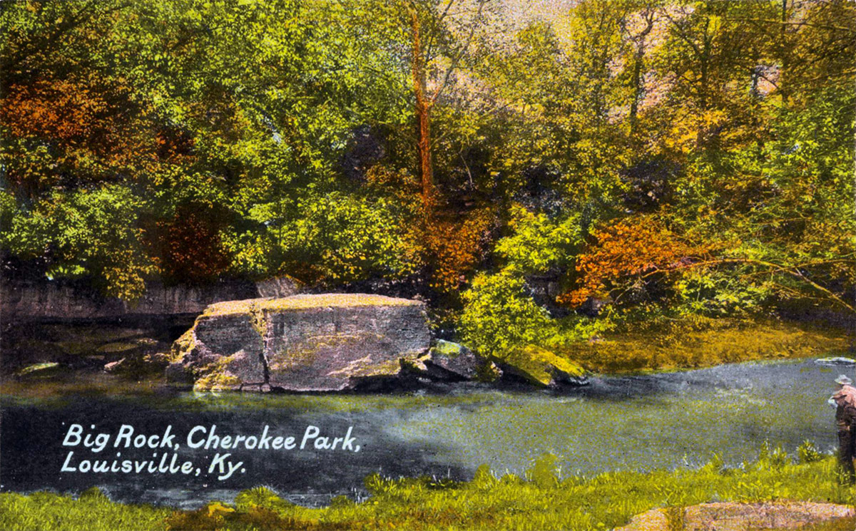Big Rock along Beargrass Creek in Cherokee Park. (Courtesy of the National Park Service, Frederick Law Olmsted National Historic Site)