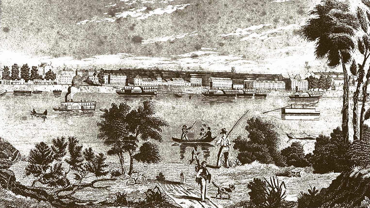 The Louisville waterfront in the 1840s. (Credit Unknown)