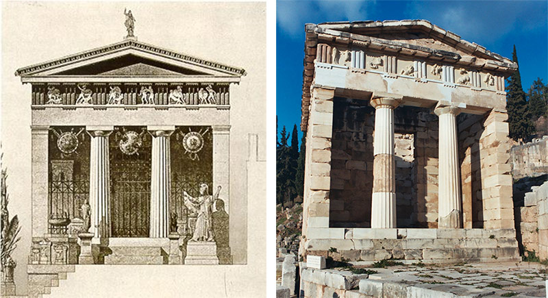 The Treasury of Athena, drawing and photo. (Courtesy Museum of Athena; Wikimedia Commons)