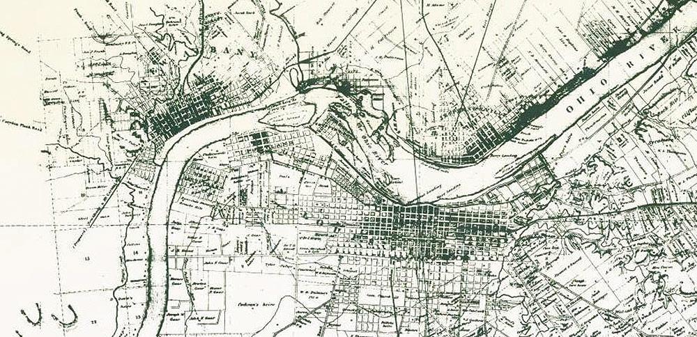Detail of the 1858 Bergman map of Louisville.