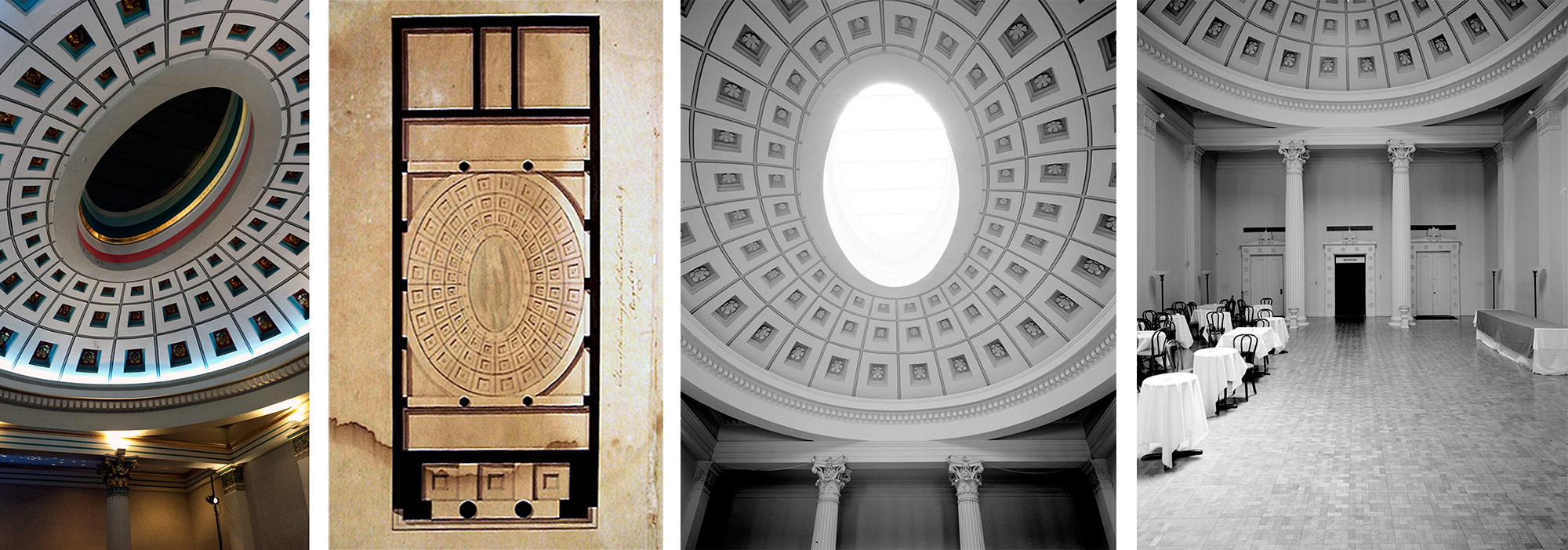 Interior views and ceiling plan. (Courtesy Tipster; New Orleans Public Library; Library of Congress)