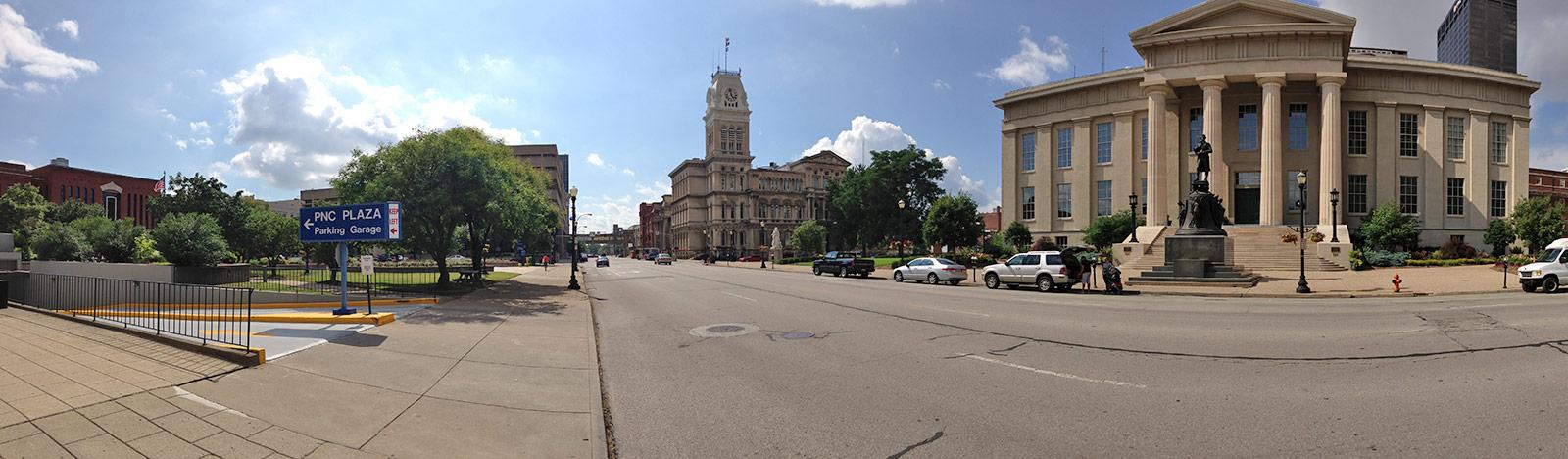 Government buildings surrounding Jefferson Square. (Broken Sidewalk)
