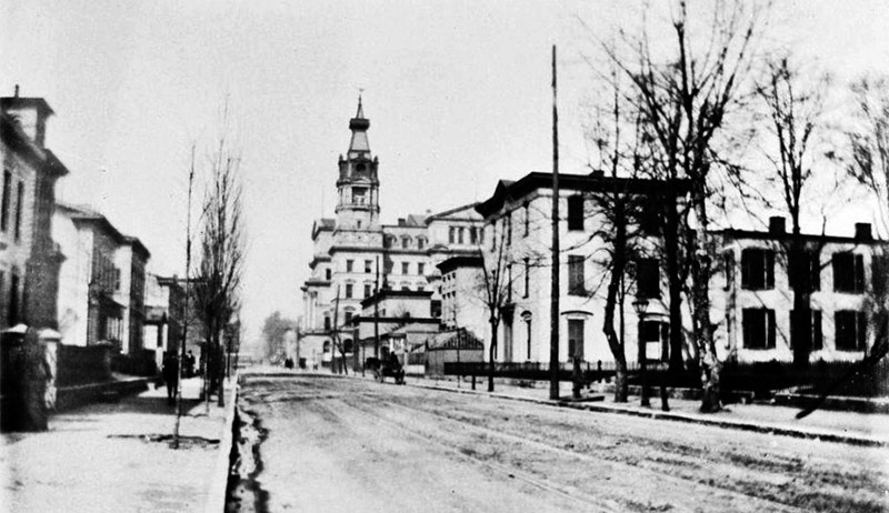 Fourth Street 1898 was lined with houses, not stores. Here, the old St. Joseph Hospital is on the right looking toward Chestnut Street (Courtesy UL Archives)