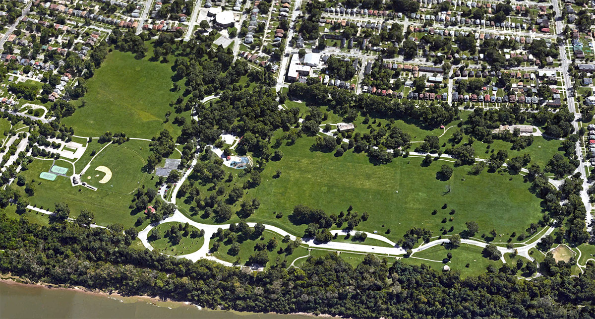 An aerial view of Shawnee Park along the Ohio River. (Courtesy Google)