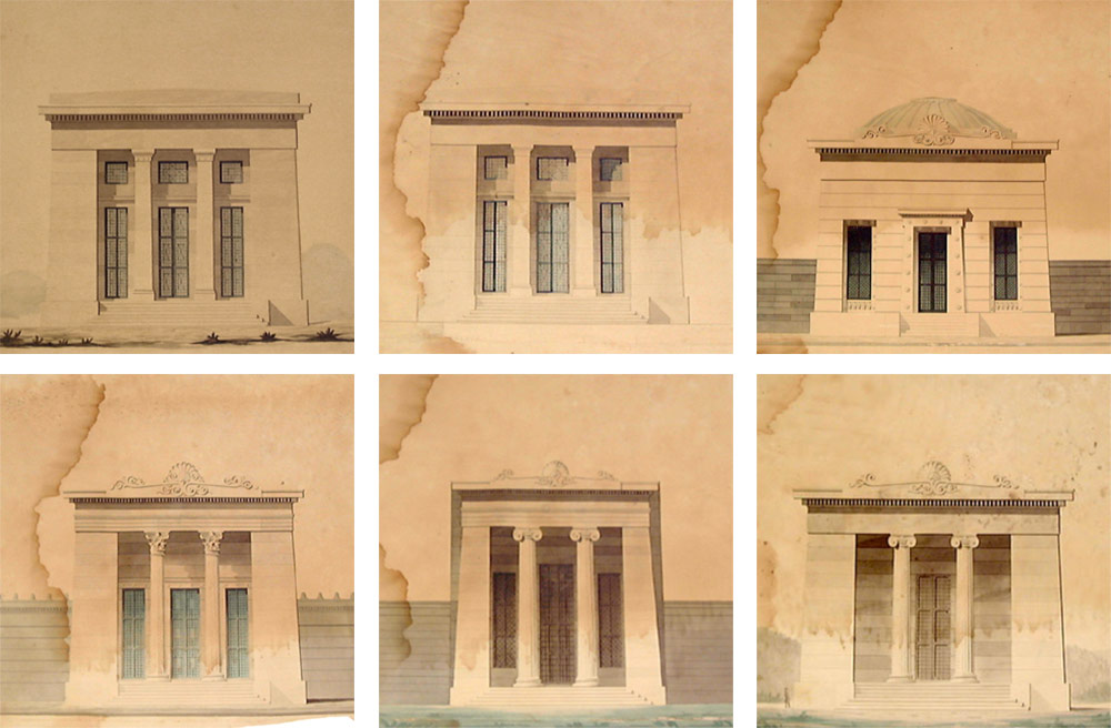 """A series of Dakin's drawings showing a series of undated, """"unidentified temple-like buildings"""" and the St. Peter St. Arsenal, upper left. The bottom row center appears to be a sketch of Louisville's structure. (Courtesy NOLA Public Library)"""