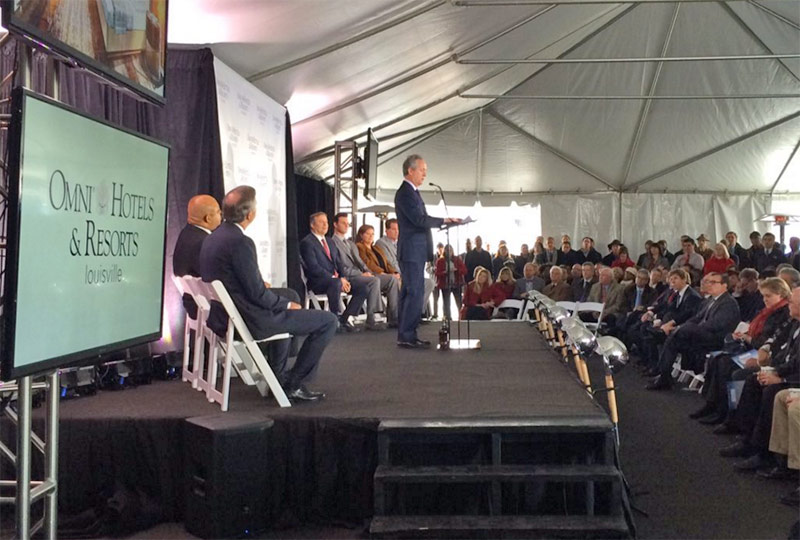 Mayor Fischer addresses the crowd at the Omni groundbreaking. (Courtesy Mayor's Office)