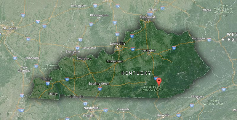 Corbin, Kentucky, in the southeast corner of the state. (Courtesy Google)