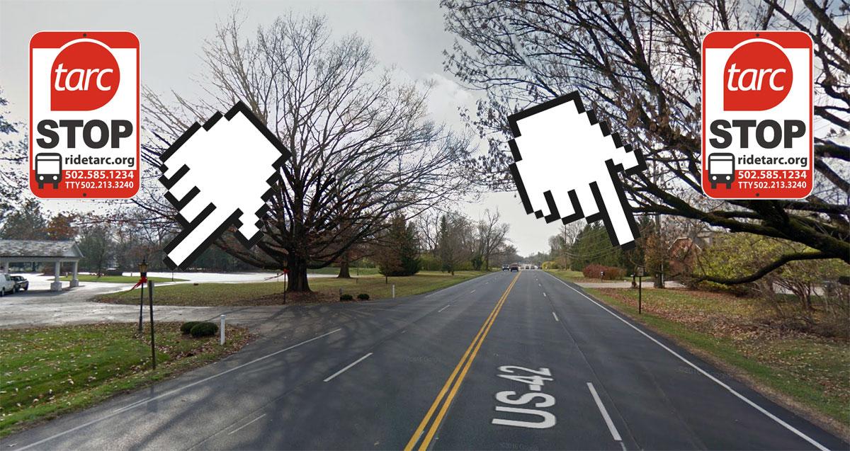 Two TARC stop son Brownsboro Road highlight the pedestrian dangers along the street. (Montage by Broken Sidewalk)