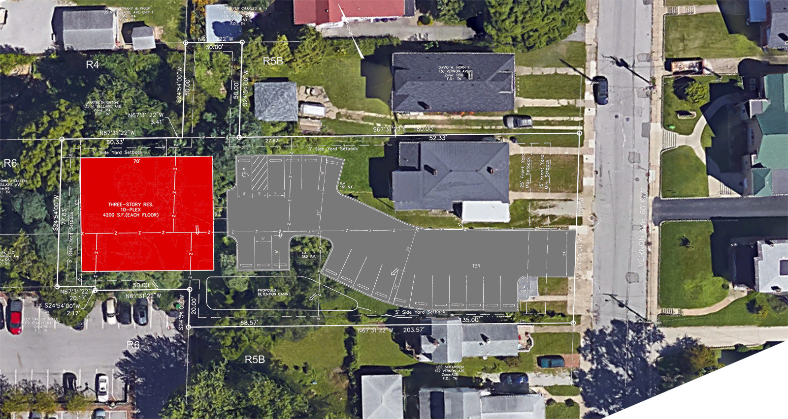 The Conti Apartments site plan overlaid on an aerial view of the site. (Metro Louisville; Google; Montage by Broken Sidewalk)
