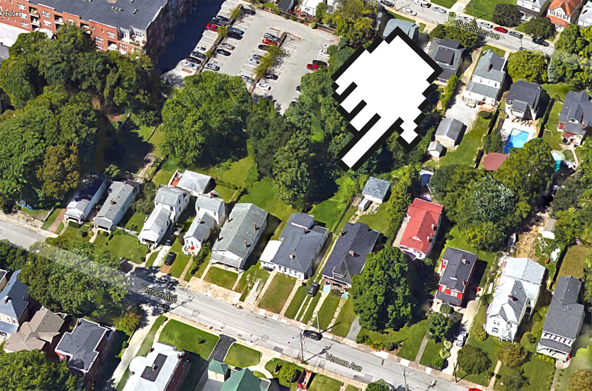 Site of the Conti Apartments. (Courtesy Google)