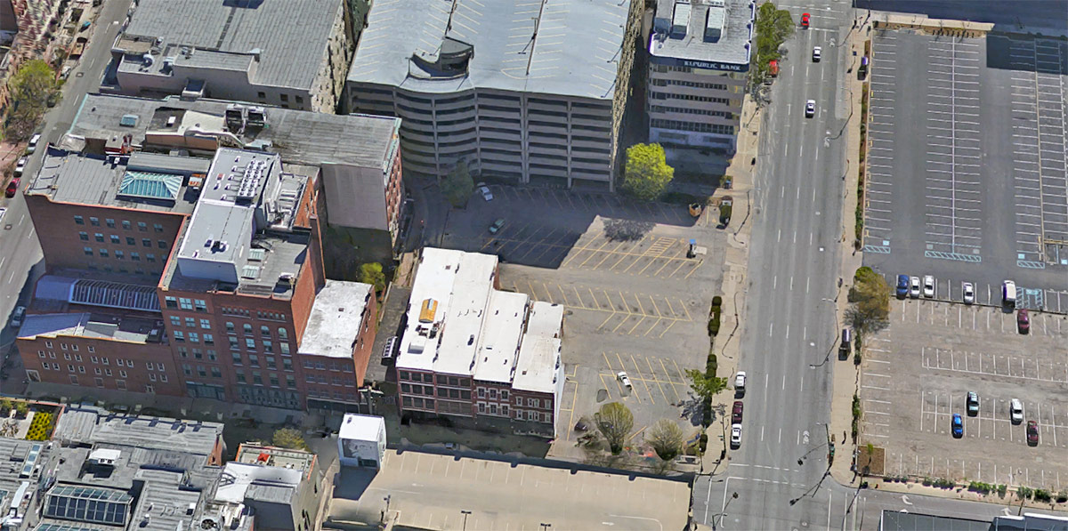 An aerial view of the development site. (Courtesy Google)