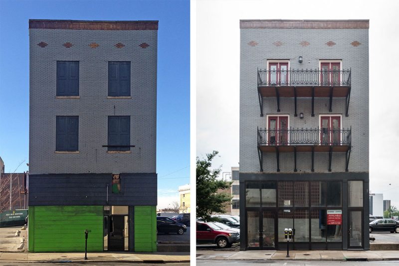 Before and after at 514 South Fourth Street. (Courtesy Griffin Meredith)