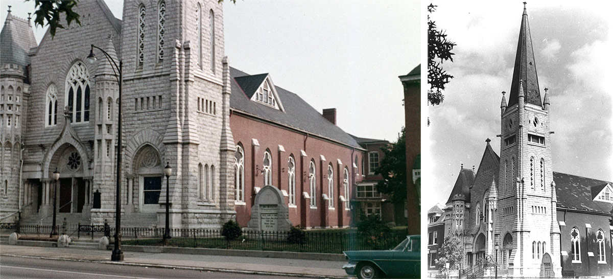 The church circa 1956–1966, left, and again in 1980, right. (Courtesy UL Photo Archives - Reference; Courtesy National Register)
