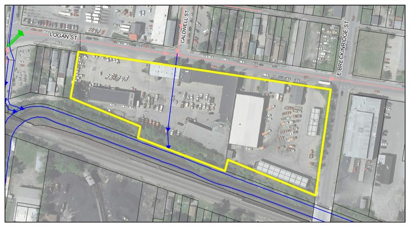 The site of the Logan Street CSO Basin. (Courtesy MSD)