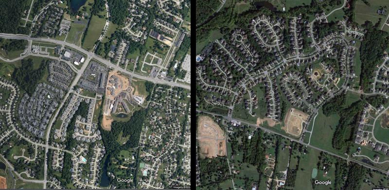 Newly built sprawl in the vicinity. (Courtesy Google)