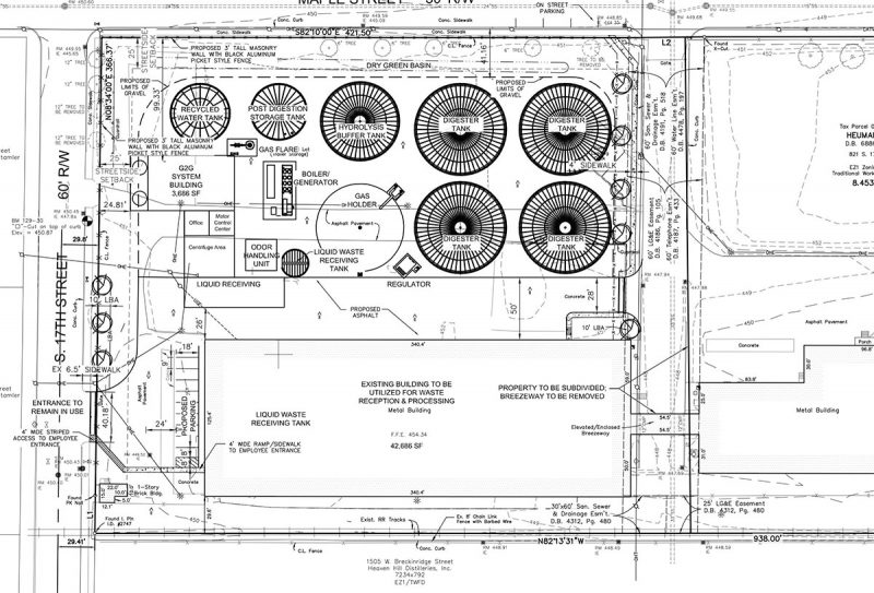 A plan of the California neighborhood biodigester proposal. (Courtesy STAR BioEnergy)