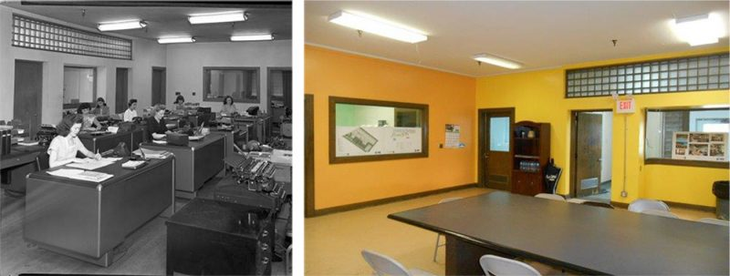 A historic view of the central office space and a modern view. (Courtesy NPS)