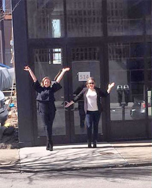 Doogs and Gray in front of their new storefront. (Courtesy Beards & Beers)