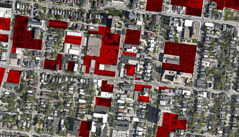 Vacant land and parking lots around Oak Street. (Montage by Broken Sidewalk)