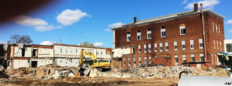 The Mercy demolition site in late March. (Courtesy Tipster)