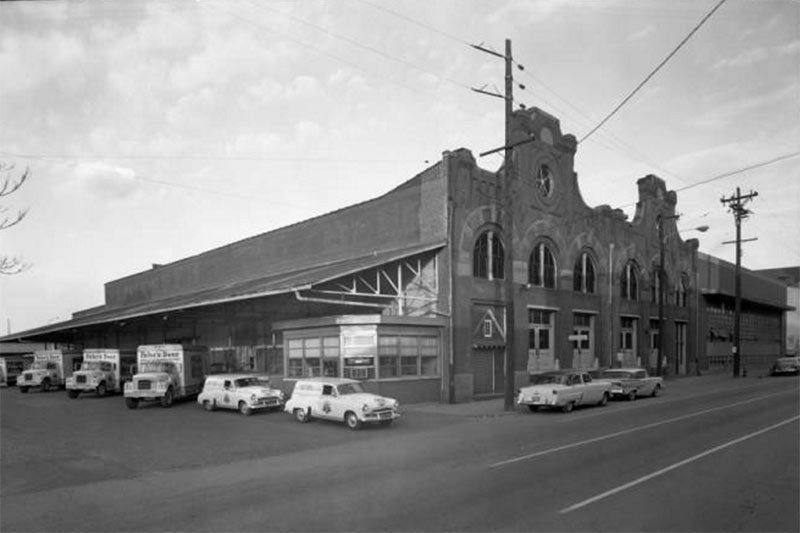An ornate brick structure on what is now the First Link parking lot. (Courtesy UL Archives - Reference)