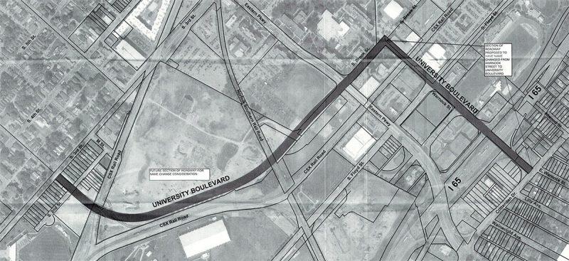The proposed University Boulevard. (Courtesy UofL Foundation)