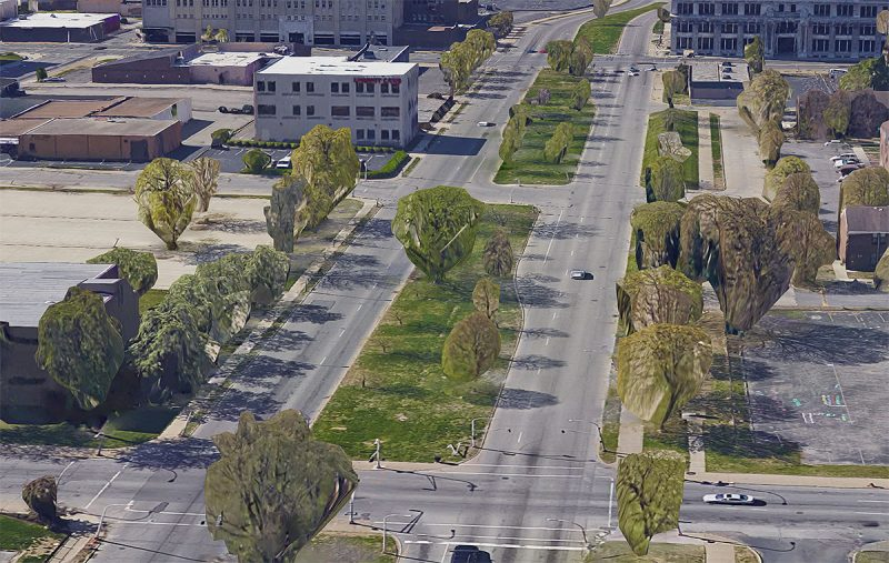 A view of Ninth Street, which divides the East (left) and West (right) Ends of Louisville, KY. (Courtesy Google)