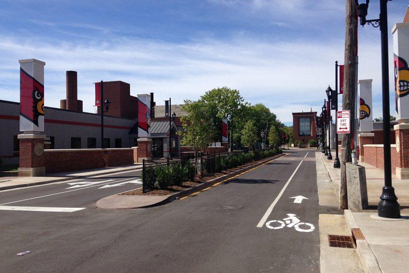 Warnock Street leading into the University of Louisville. (Branden Klayko / Broken Sidewalk)