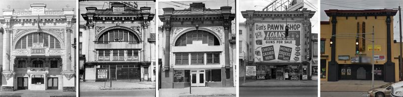 The Royal Theater has been the victim of many unfortunate changes over the years. Left to right: The theater shortly after opening in 1911, the building in 1942, again in 1942, 1964, and how it looks today. (Courtesy UL Archives - Reference, Reference, Reference, Reference; Courtesy Google)