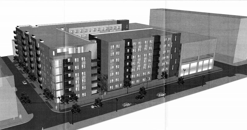 A proposal for 237 apartments at Fourth and Guthrie. (GBBN Architects)