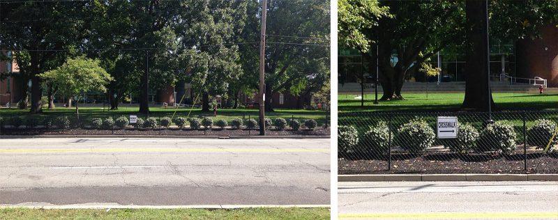 The University of Louisville's approach to street safety is to install a fence. (Branden Klayko / Broken Sidewalk)