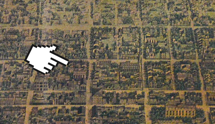 An aerial depiction of Louisville in 1855 shows the area around today's Fourth and Guthrie streets is way out on the edge of town.