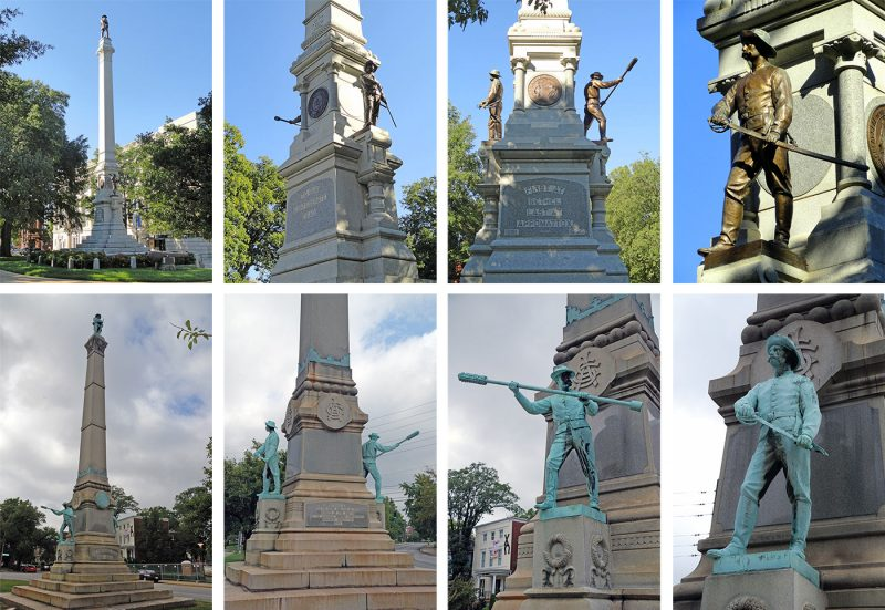 Top row shows Raleigh's Confederate Monument, with Louisville's shown below. (Top row courtesy Wikimedia Commons, Below courtesy Louisville Images / Flickr)