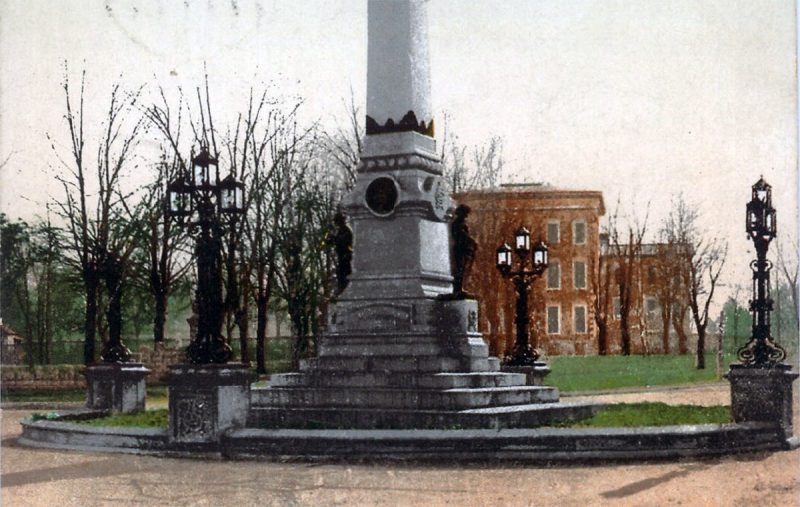 The base of the Confederate Monument looking toward the House of Refuge, what later became the Belknap Campus. (Courtesy Old Lou Guide)