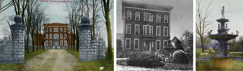 The administration building of the House of Refuge and its ornate fountain. (Courtesy Historic Lou / Weebly)