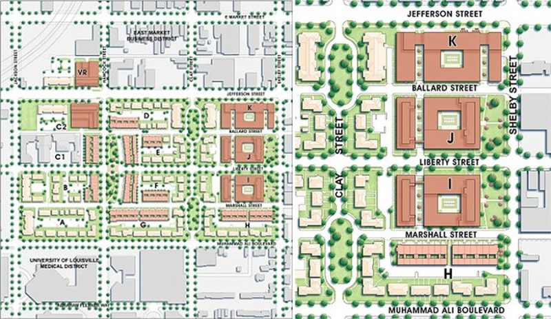 The master plan for Liberty Green indicating privately developed portions in rust, left, and a detail view of the eastern portion along Shelby Street that remains unbuilt, right. (Courtesy AU Associated)