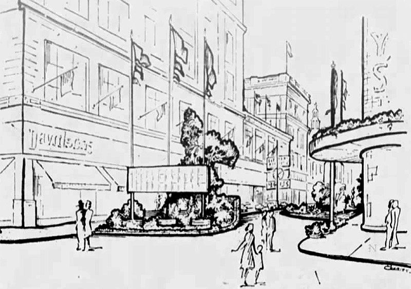 A drawing of the temporary pedestrian plaza put in place on Guthrie Street for two weeks in 1960.