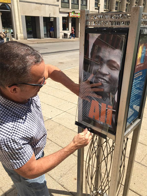 Wayfinding stations around Downtown feature Muhammad Ali imagery. (Courtesy Metro Louisville)