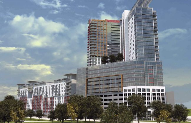 Rendering of the project as it forms a point at the intersection of Lexington and Grinstead. (Courtesy JDG / TBD+)