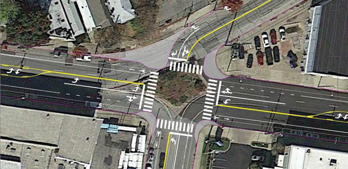 Move Louisville's plan for a redesigned Baxter Avenue / Main Street / Story Avenue. This type of change should be expanded into surrounding neighborhoods. (Courtesy Move Louisville)