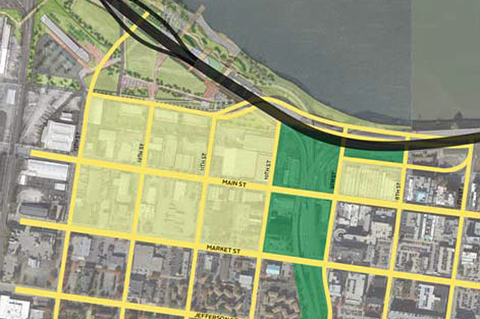 A concept diagram showing River Road extended west. (Courtesy Move Louisville)