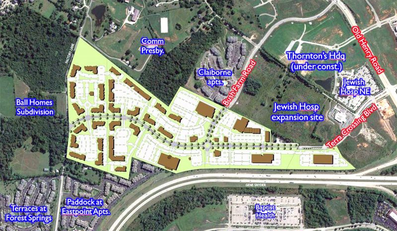 The sprawling project's site plan. (Courtesy JDG / Metro Lou)