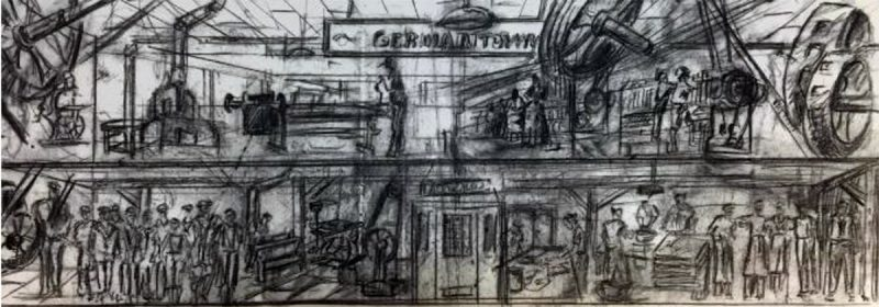 Concept sketch for the Goss Avenue mural. (Courtesy Three Points)