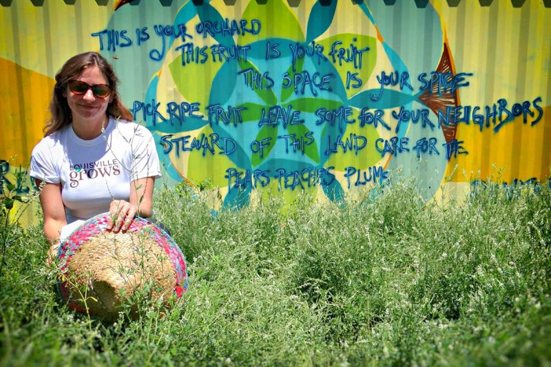 Louisville Grows Executive Director Valerie Magnuson at Produce Park. (Jinn Bug / Courtesy Louisville Grows)