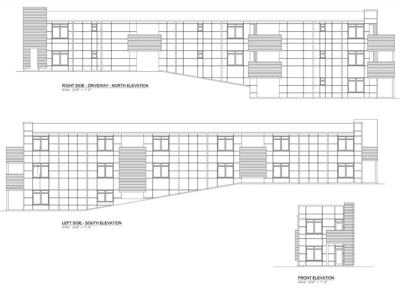 Elevations of the new design show a long slender structure with seven units. (Courtesy Brown Conti Company)